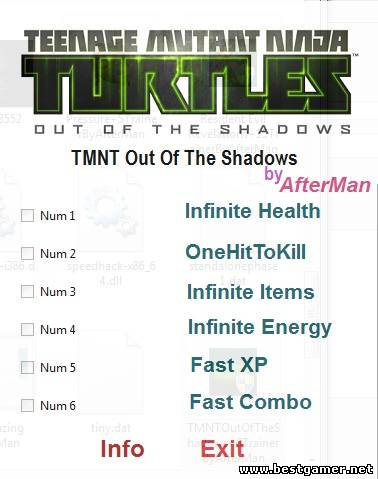Teenage Mutant Ninja Turtles ~ Out of the Shadows: Трейнер/Trainer (+6) [All Version's] {AfterMan}
