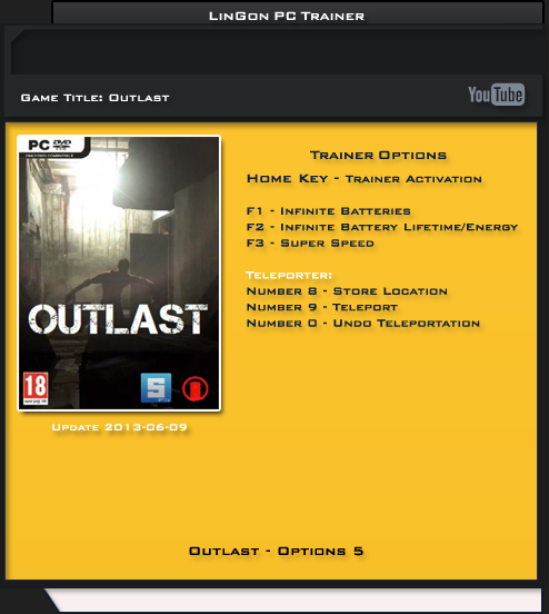 Outlast: Трейнер/Trainer (+5) [Update ~ 06.09.13] {LinGon}