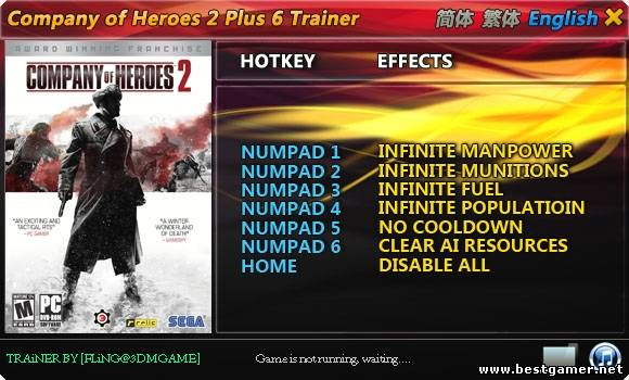 Company of Heroes 2: Трейнер/Trainer (+6) [All Versions] {FLiNG}