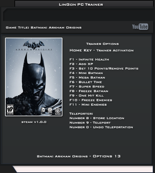 BATMAN ARKHAM ORIGINS V1.0 TRAINER +13 LINGON