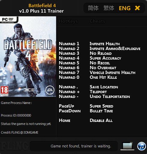 Battlefield 4 v1 0 Plus 11 Trainer-FLiNG