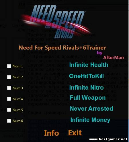 Need for Speed: Rivals Трейнер/Trainer (+6) [1.1-All Versions]