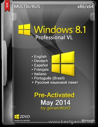 Windows 8.1 Pro VL x86/x64 Pre-Activated May 2014