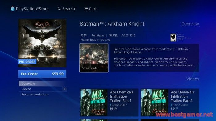 Batman: Arkham Knight будет занимать на жёстком диске  48.7 Гб